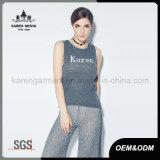 Madame tricotée sans manche personnalisée par logo Shirt de laines