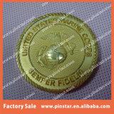 El recuerdo de encargo de la alta calidad al por mayor de la fábrica a presión directo la moneda de oro suave de cobre amarillo del metal del esmalte de la fundición