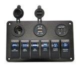6 Contactdoos van de Lader van de Aansteker van de Adapter USB van de Auto van het Comité van de Schakelaar van de Tuimelschakelaar van de troep de Waterdichte Auto Dubbele