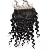 バージンの人間の毛髪の中間の部品のねじれた巻き毛のレースの閉鎖Lbh 199