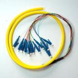 Alta calidad 9/125 manojo óptico unimodal de la coleta de fibra de LC/PC 12