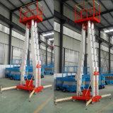 Tabella di lavoro idraulica di sollevamento di funzionamento della lega di alluminio della piattaforma dell'uomo dell'albero telescopico del doppio