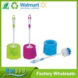 Diferentes patrones de la forma de limpieza del hogar juego de cepillo de WC, titular de cepillo de plástico de tocador