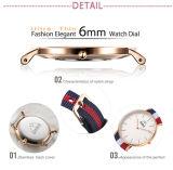 Relógio Reloj do couro do relógio de quartzo do aço inoxidável da forma