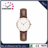 Relógio de pulso da cinta de couro do diamante das senhoras da forma