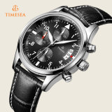 Mens-Quarz-analoge Uhr-lederne schwarze Form-Chronograph-Luxuxuhr 72230