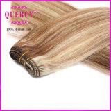 ブラウンのハイライトの未加工実質のブラジルの人間の毛髪の織り方