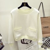 Повелительницы, Knit, французское Терри, шея нервюры, карманн, вскользь длинний пуловер втулок
