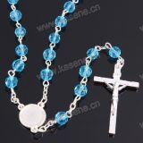 بيع بالجملة [8مّ] زرقاء بلورة خرز دينيّ سبحة عقد, بلّوريّة مجوهرات عقد, سبحة كاثوليكيّة مع سبيكة صليب & مركز