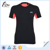 Señora delgada modificada para requisitos particulares Gym Wear de la camisa de la insignia