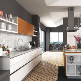 Philippinen Project Line Lacquer Kitchen Cabinet mit Insel (OP15-L07)