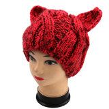 Шлем уха кота Knit руки злейший, шлем животного Knit руки