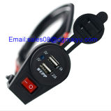 USB Charge Socket de 12-24V Dual con Switch para Car Motorcycle Motorbike