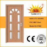 Puerta de cristal del MDF del PVC de la pieza inserta del diseño de Beautiul (SC-P086)