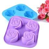 Moulage de gâteau de Rose de silicones de 4 trellis