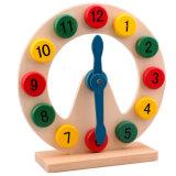 나무로 되는 시계 모형 장난감을 가르치는 시간
