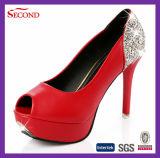 Zapatos de las mujeres de la punta del pío del color de Rose