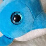 Giocattolo molle dei capretti del delfino della grande Nizza peluche blu blu degli occhi