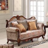 Clássico Tecido Sofa Set Antique Love Seat e Presidente Couch Classical para sala