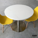Изготовленный на заказ круглая искусственная каменная твердая поверхностная бежевая обедая таблица установила (V161108)