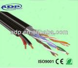 Câble LAN d'UTP Cat5e avec le câble d'alimentation de 2 faisceaux