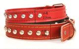 Collar de cuero hecho a mano de cuero ajustable del animal doméstico del collar de perro