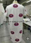Vestido feito malha algodão 100% de Printting do bordo para mulheres/senhoras