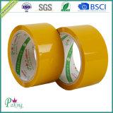 Bande de empaquetage adhésive bon marché jaune-clair du prix usine BOPP