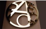 Lettre d'intérieur et extérieure de logo balayé par or décoratif personnalisé d'acier inoxydable en métal de signe
