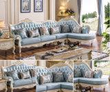 Sofá de madera del cuero genuino del estilo europeo con la calesa (HC805)