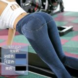 Calças de brim Hip das senhoras da forma do estilo apertado das mulheres do projeto da parte superior das calças de brim das senhoras boas