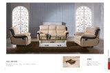 Wohnzimmer-Sofa mit dem modernen echtes Leder-Sofa eingestellt (418)