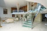 As escadarias espirais de vidro modernas anunciaram dentro e o formulário do jogo