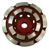 Diamante que mmói a roda dobro do copo da fileira para o concreto, pedra, tijolo, alvenaria
