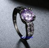 黒によってめっきされるカラーCZの宝石類のリング(R0845)