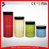 Colorido contenedor de comida de vidrio Set 4 Custom Cookie Jar Tarro de cristal decorativo hermético