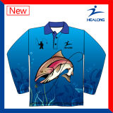Jersey de pêche bon marché de chemises de chandail de Hoodies sublimés par impression thermique du transfert 3D