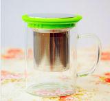 Подарка кружки подарка крышки фильтра нержавеющей стали кофейная чашка чашки цветастого стеклянная