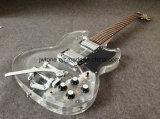 Guitarra eléctrica de la carrocería LED del puente de Bigsby de la calidad joven ligera cristalina de acrílico del Sg 400 Augus