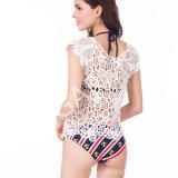 Chemisier de crochet de lacet de coton de mode de dames d'été (BL-254)
