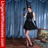Платье Costuen Cosplay ведьмы шеи платья партии Halloween женщин безрукавный круглое