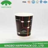 Nueva taza doble del papel de empapelar de Happypack con la tapa (4oz 8oz 12oz 16oz 20oz)