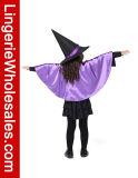 Gosses pourprés et costume noir de Cosplay de manteau de sorcière