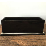 Crisol de flor de cerámica rectangular de la decoración de interior negra
