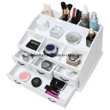 Bijou blanc élégant minable de tiroirs de mémoire des plateaux 4 en bois 8/renivellement/crémaillère d'étalage organisateur de produits de beauté