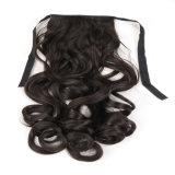 熱い販売の総合的なHorsetailのかつらの安く長いブラウンの巻き毛のポニーテールの毛のかつら18インチのカールのHorsetailのかつら