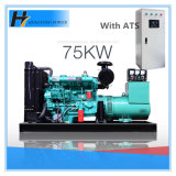 Weifangエンジン75kw/93kVAのブラシレス交流発電機のATSが付いているディーゼル発電機セット