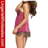 Сатинировка женщин и женское бельё Babydoll планок сетки сексуальное с золотистым уравновешиванием шнурка