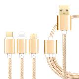 3 en 1 cable aislado nilón de la carga y de datos del USB para Iphohne, Samsung, tipo C