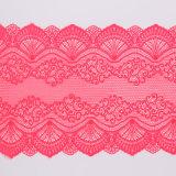 Textile élastique de tissus de jacquard de tissu de lacet de carmin
